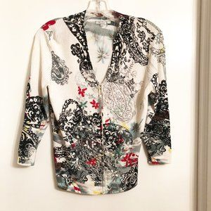 Embroidered Lightweight Zip Front Cardigan